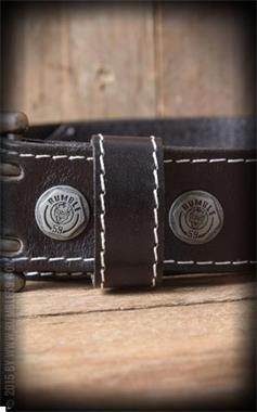 Grote foto rumble 59 leather belt with double buckle in black kleding dames riemen