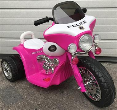 Grote foto harley politiemotor look 6v roze kinderen en baby los speelgoed