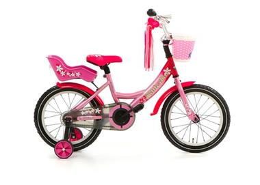 Grote foto little miss 16 inch paars poppenzitje en mandje fietsen en brommers kinderfietsen