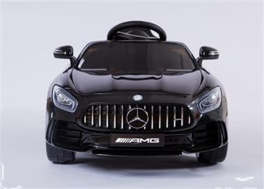 Grote foto mercedes gtr metallic zwart 12v leder rc rubberbanden kinderen en baby los speelgoed