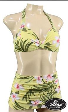 Grote foto aloha beachwear 50 bikini yellow hawaiien hibiscus. kleding dames badmode en zwemkleding
