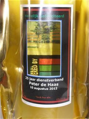 Grote foto vensterfles wijn met venster met uw foto of logo diversen cadeautjes en bonnen