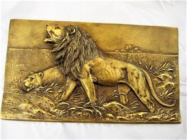 Grote foto vienna wiener bronze wandplak met leeuwen antiek en kunst koper en brons
