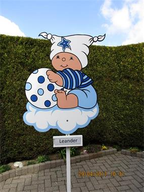 Grote foto geboortebord ooievaar met baby gew keuze. kinderen en baby kraamcadeaus en geboorteborden