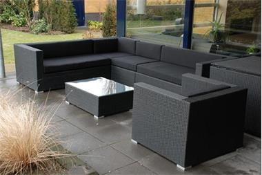 Grote foto loungeset zwart wicker direct leverbaar 1195 tuin en terras tuinmeubelen
