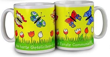 Grote foto communie bekers met rups vlieger of vlinder diversen cadeautjes en bonnen