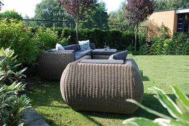 Grote foto wicker loungeset curved riet rondwicker 1995 tuin en terras tuinmeubelen