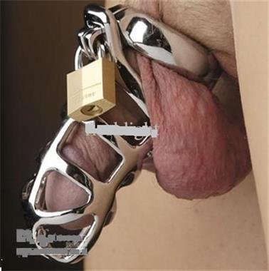 Grote foto steel chastity cock cage met de ring hangslot erotiek sm artikelen