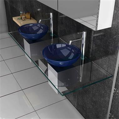 Grote foto design glazen wastafel met rvskast diverse kleuren huis en inrichting complete badkamers