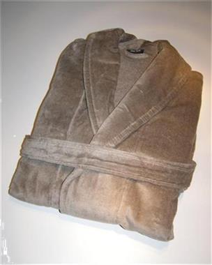 Grote foto nieuwe badjas velours kleur taupe een maat kleding dames ondergoed