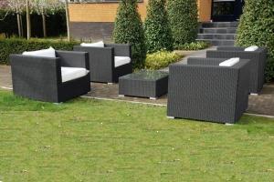 Grote foto 4 lounge fauteuils zwart inclusief gratis levering tuin en terras tuinmeubelen