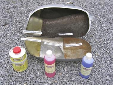 Grote foto roest of gaatjes in uw brandstoftank auto onderdelen oldtimer parts en accessory