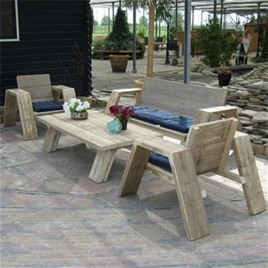 Grote foto loungeset jutter steigerhout groningen tuin en terras tuinmeubelen