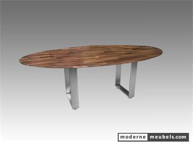 Moderne ovale design eet tafel met rvs noten eiken kopen for Design tafel ovaal