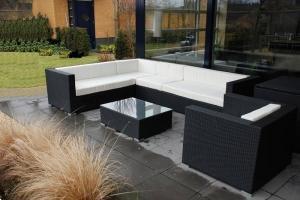 Grote foto korting op loungeset arbrini zwart creme tuin en terras tuinmeubelen