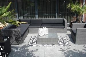 Grote foto loungeset arbrini grijs met zwarte kussens tuin en terras tuinmeubelen