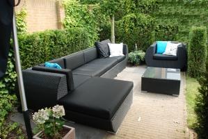 Grote foto aanbieding wicker loungeset curved zwart tuin en terras tuinmeubelen