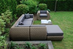 Grote foto loungeset curved kunststof rondwicker naturel tuin en terras tuinmeubelen