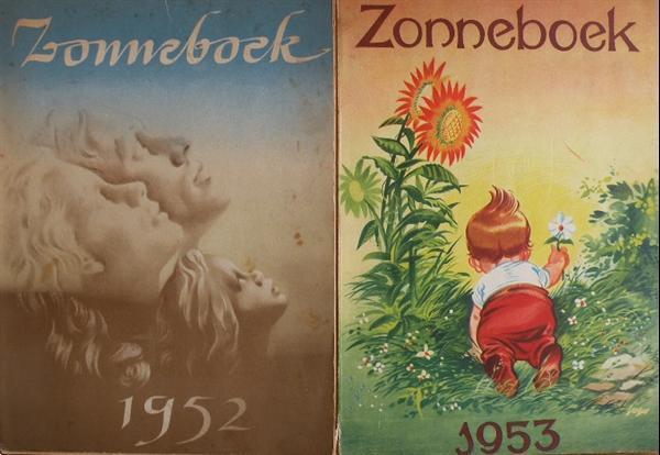 Grote foto zonneboeken 1952 en 1953. boeken geschiedenis vaderland