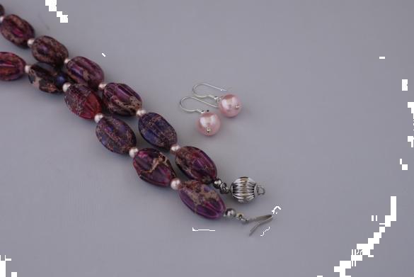 Grote foto impearial jaspis shellpearls set sieraden tassen en uiterlijk kettingen