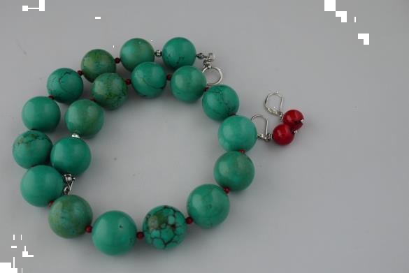 Grote foto turquoise 20mm bloedkoraal ketting oorhanger set sieraden tassen en uiterlijk kettingen