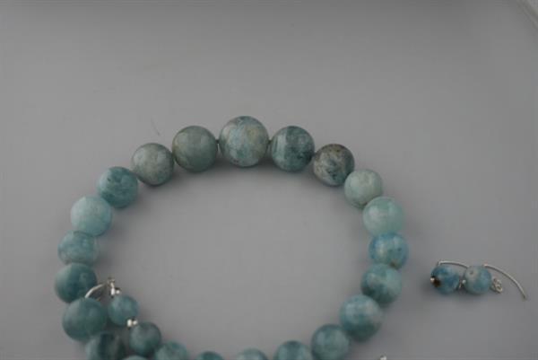 Grote foto aqumarijn 11mm 25mm ketting oorhanger set sieraden tassen en uiterlijk kettingen
