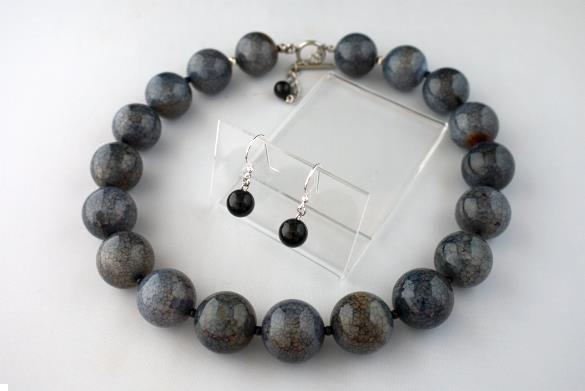 Grote foto grijs blauwe agaat 22 mm ketting oorhanger set sieraden tassen en uiterlijk kettingen