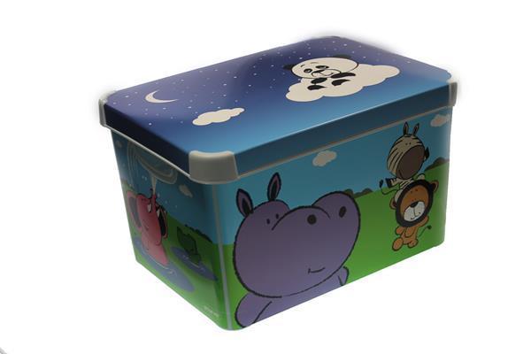 Grote foto opbergbox happy animals opbergdoos met deksel kinderen en baby kinderspulletjes