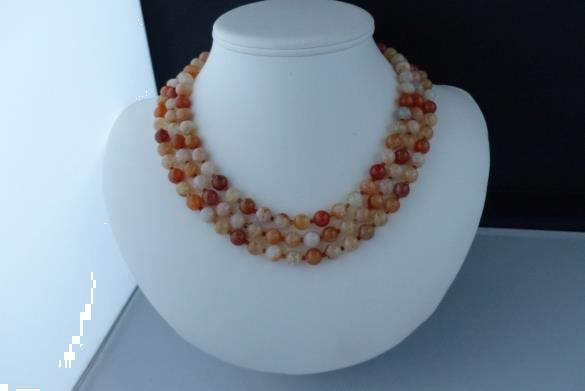 Grote foto agaat 3 rij ketting oorhanger set sieraden tassen en uiterlijk kettingen