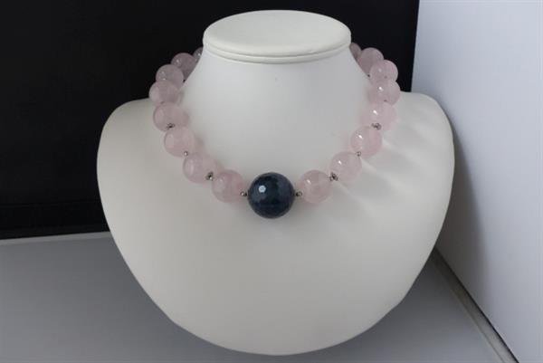 Grote foto rozenkwarts dumortieriet 3 delig set sieraden tassen en uiterlijk kettingen