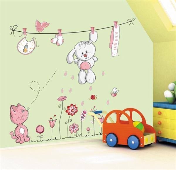 Grote foto muursticker konijntje aan waslijn kinderen en baby complete kinderkamers