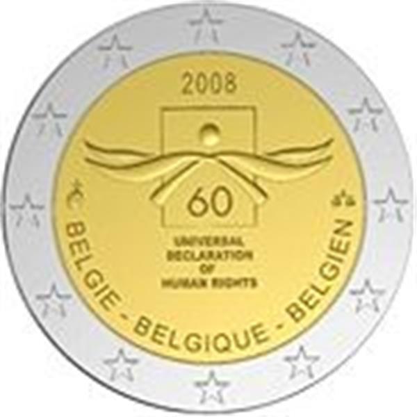 Grote foto belgi 2 euro 2008 60e herdenkingsdag van de mensenrechten verzamelen munten overige