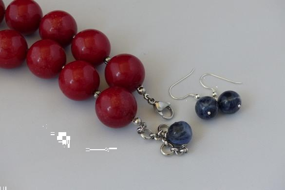 Grote foto soldaliet agaat 20 mm ketting oorhanger set sieraden tassen en uiterlijk kettingen