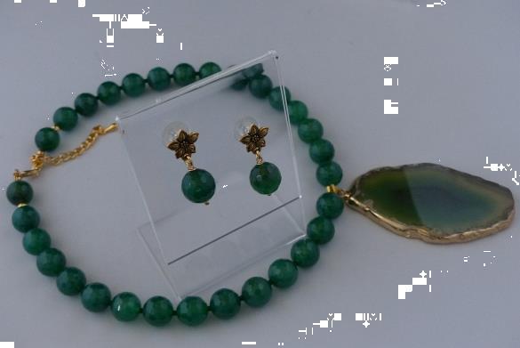 Grote foto groene agaat ketting oorhanger set sieraden tassen en uiterlijk kettingen