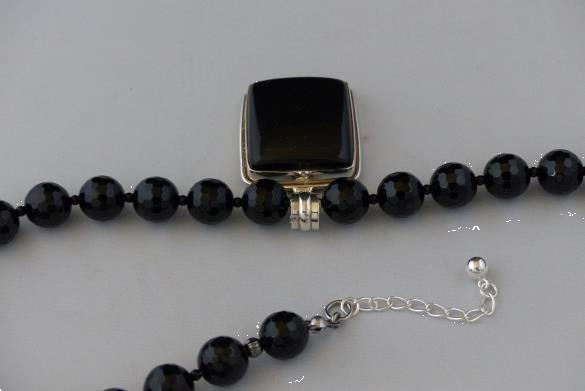 Grote foto gefacetteerde onyx ketting oorhanger set sieraden tassen en uiterlijk edelstenen en kralen