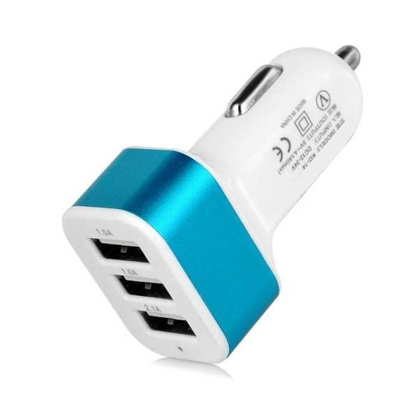Grote foto high speed 3 port autolader carcharger 5 kleuren 076612917 telecommunicatie opladers en autoladers