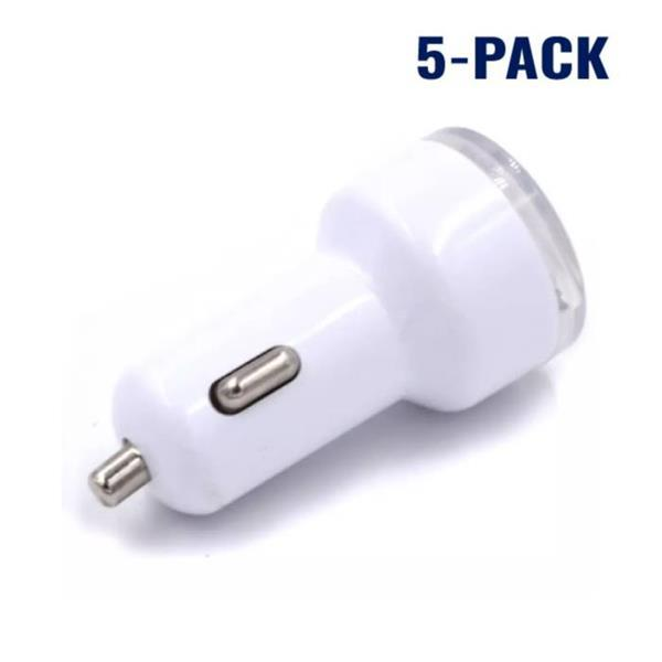 Grote foto 5 pack high speed dubbele autolader dual carcharger wit 0766 telecommunicatie opladers en autoladers