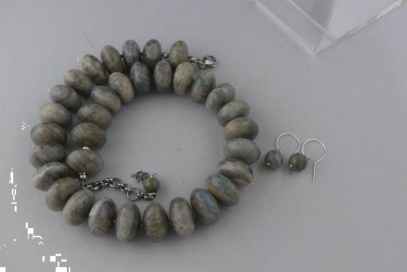Grote foto gefacetteerde labradoriet ketting oorhanger set sieraden tassen en uiterlijk kettingen