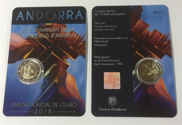 Grote foto andorra 2 euro 2018 25 jaar constitutie andorra verzamelen munten overige