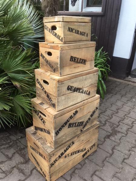 Grote foto 5 delige set houten deksel kisten met opdruk tuin en terras tuindecoratie