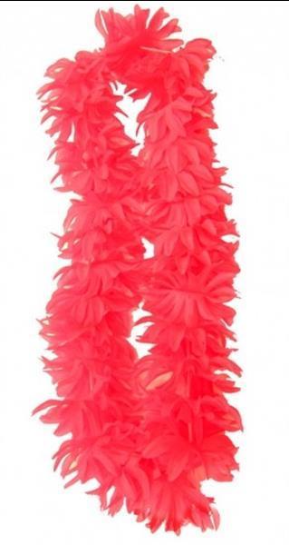 Grote foto hawaii slinger fluor pink toppers roze kleding dames carnavalskleding en feestkleding