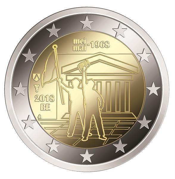 Grote foto belgi 2 euro 2018 studentenopstand 1968 verzamelen munten overige