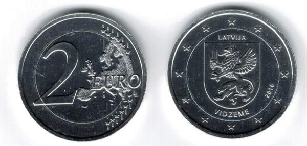 Grote foto letland 2 euro 2016 vidzeme verzilverd verzamelen munten overige
