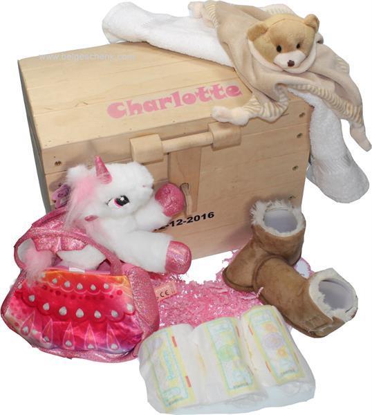 Grote foto speelgoedkist kraamcadeau met naam baby kinderen en baby kraamcadeaus en geboorteborden