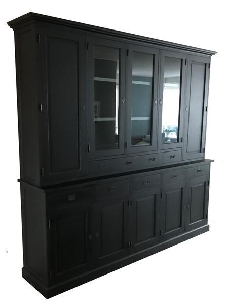 Grote foto buffetkast zwart grijs 265 x 235cm dichte zijdeur huis en inrichting buffetkasten