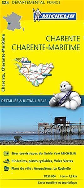 Grote foto fietskaart wegenkaart landkaart 324 charente charente ma boeken atlassen en landkaarten