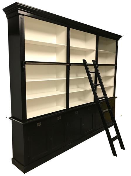 Grote foto boekenkast zwart wit 300 x 36 x 240cm incl. trap huis en inrichting buffetkasten
