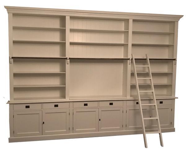 Grote foto boekenkast reewijk xxl wit 370 x 260cm incl. trap huis en inrichting buffetkasten