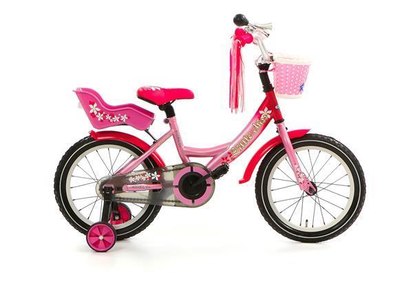 Grote foto little miss 16 inch roze poppenzitje en mandje fietsen en brommers kinderfietsen