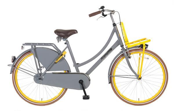 Grote foto daily dutch basic 26 inch transportfiets zd grijs geel fietsen en brommers damesfietsen